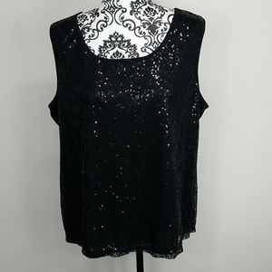 Women's XL George Black Sequined sleveless blouse